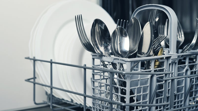 Silverware and plates in a dishwasher